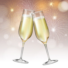 Realistic vector illustration of champagne glasses on blurred holiday golden firework background