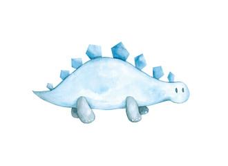 Cute watercolor dinosaur
