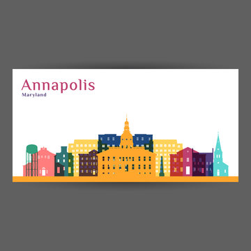 Annapolis city architecture silhouette. Colorful skyline. City flat design. Vector business card.
