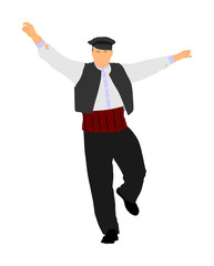 A Greek Evzone dancing vector isolated on white background. Traditional folk dance. Dancing man vector illustration. Traditional Balkan dance kolo. Sirtaki, Syrtaki, Zorba dance. Wedding dance.