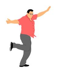 A Greek Evzone dancing vector isolated on white background. Traditional folk dance. Dancing man vector illustration. Traditional Balkan dance kolo. Sirtaki, Syrtaki, Zorba dance. Wedding dance.