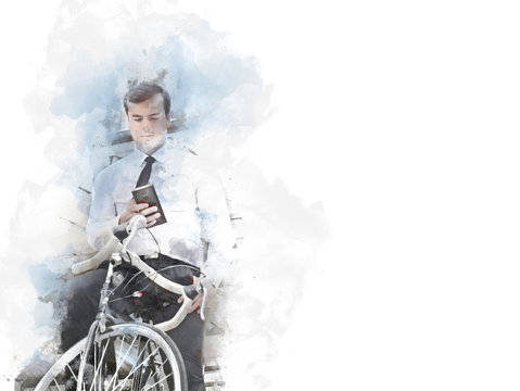 Business man and bicycle walking on street and going to offices building in the city on watercolor painting background.