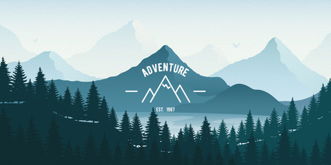 Horizontal Landscape with forest, lake and mountains. Vector illustration