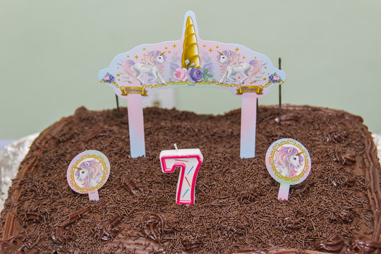 Chocolate cake with 7 year candle