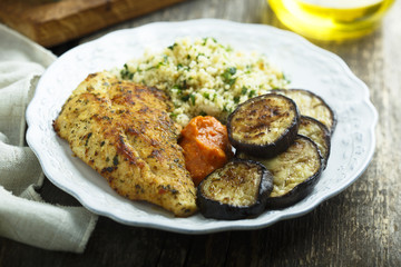 Chicken roast with couscous and vegetables