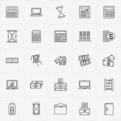 Accountant line icon set with money, sand watch and printer