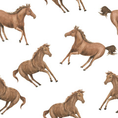 Watercolor painting seamless pattern with running horses