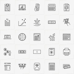 Accountant line icon set with printer, accounting book and money box