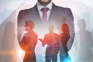 International business team global world, leader