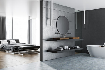 Master bedroom and bathroom interior