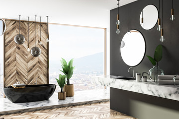 Luxury gray and wood bathroom corner