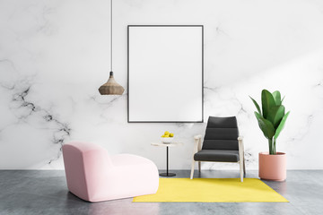 Marble living room with armchairs and poster