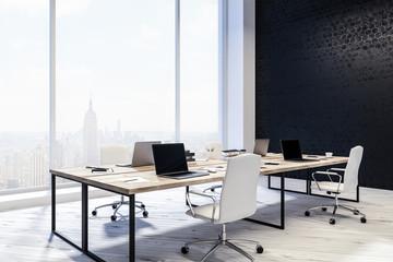 Manager office interior, black walls