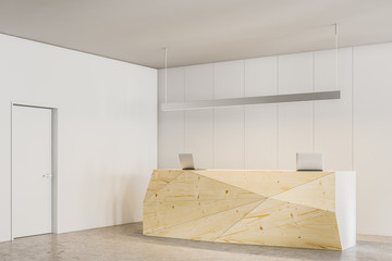 Side view of wooden office reception desk