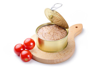 Canned tuna in olive oil with tomatoes and cutting board on white background