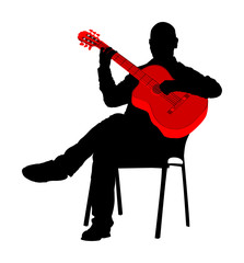 Man playing acoustic guitar vector silhouette isolated on white. Classic music performer concert. Musician artist amusement public. Virtuoso classic guitar. Mature man play string instrument.