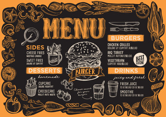 Burger menu template for restaurant on blackboard.