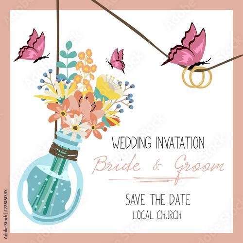 Wedding Invitation Card Design Vector Illustration Stock