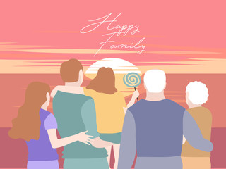 Family clip art -Multi-Generation Family, back view. Big family together. Vector illustration of a flat design