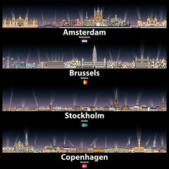 Fototapete - Amsterdam, Brussels, Stockholm and Copenhagen vector abstract skylines at night with bright city lights