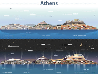 Fototapete - vector illustration of Athens city skyline at day and night