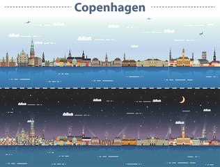 Fototapete - vector illustration of Copenhagen city skyline at day and night