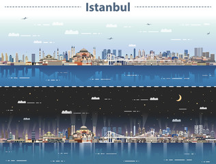 Fototapete - vector illustration of Istanbul city skyline at day and night