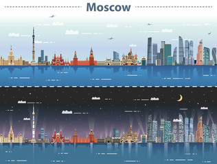 Fototapete - vector illustration of Moscow city skyline at day and night
