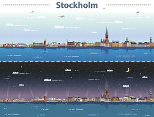 Fototapete - vector illustration of Stockholm city skyline at day and night