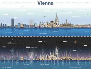 Fototapete - vector illustration of Vienna city skyline at day and night