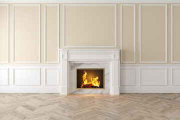 Modern classic beige interior with fireplace, wall panels, wooden floor. 3d render illustration mock up