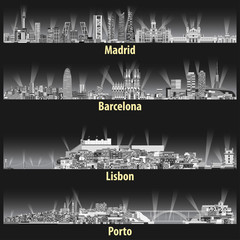 vector abstract illustration of Madrid, Barcelona, Lisbon and Porto cities skylines at night in grey tints color palette