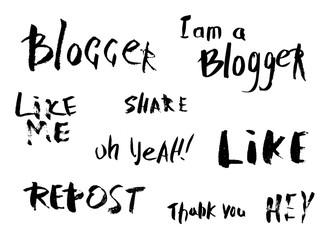 Hand lettering for social media networks. Vector illustration.