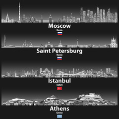 Fototapete - vector illustration of Moscow, Saint Petersburg, Istanbul and Athens skylines at night in grey scales color palette with bright lights illumination