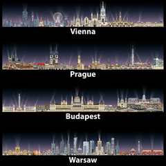 Fototapete - vector illustration of Vienna, Prague, Budapest and Warsaw cities skylines at night with bright lights illumination