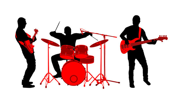 Rock and roll band vector silhouette illustration. Musician play bass guitar and drums on stage. Super star music concert show. Great event for fan supporters. Drummer and guitarists players.
