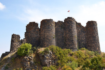 Amberd fortress on the slopes of Mt. Aragats built in the XI-XIII centuries, Armenia