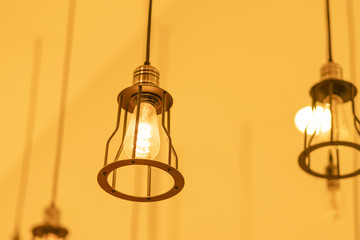 Beautiful lamp, yellow tone.