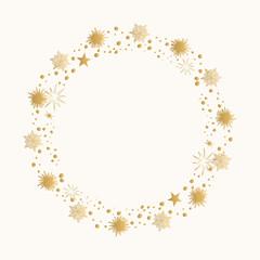Gold foil star frame. Hand drawn uneven border.