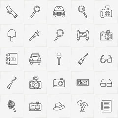 Archeology line icon set with broom, map and hammer