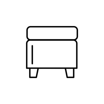 Black & white vector illustration of square storage ottoman, pouf. Line icon of accent stool or chair. Living room, bedroom & patio furniture. Isolated on white background.