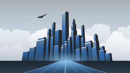 Metropolis - Urban Cityscape Vector Design Concept with Skyline and Highway Leading Towards the City