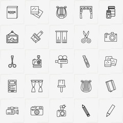 Art line icon set with glue, wall picture and scissor