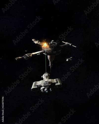 """Interstellar Space Station Under Attack by Laser Fire from a Spaceship - science fiction illustration"" Stock photo and royalty-free images on Fotolia.com - Pic 226171596"