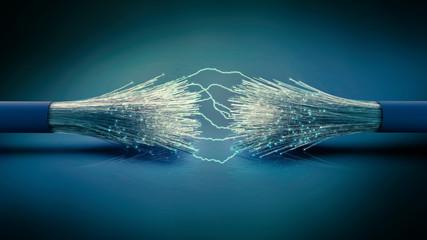Optisches Glasfaser Kabel mit Lichtbogen Verbindungen, 3D Rendering