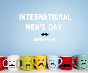 International men's day background with colorful mugs with a mustache.