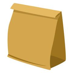 Vector Single Illustration - Brown Paper Grocery Bag