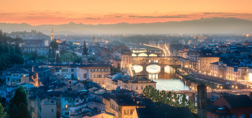 Arno River and Basilica at sunset Florence, Italy