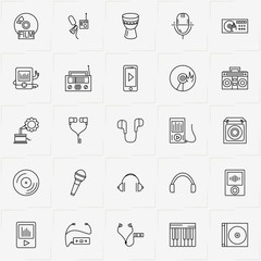 Audio line icon set with microphone, radio player and music player