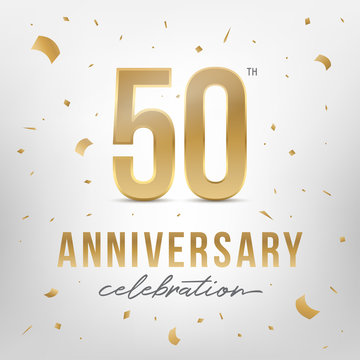 50th anniversary celebration golden template. Vector illustration.